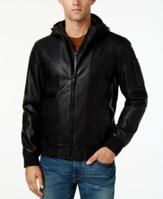 Tommy Hilfiger Men's Hooded Faux-Leather Bomber Jacket