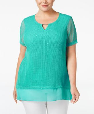 JM Collection Plus Size Textured Keyhole Top, Only at Vogily
