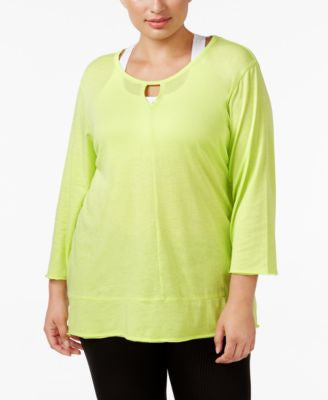 Calvin Klein Performance Plus Size Keyhole T-Shirt