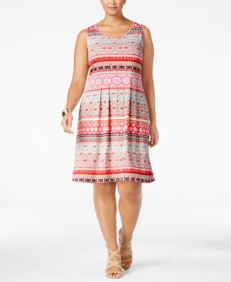 NY Collection Plus Size Tribal-Print Midi Dress
