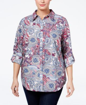 Charter Club Plus Size Paisley-Print Shirt, Only at Vogily