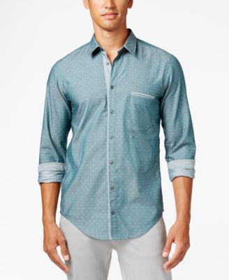 Hugo Boss Green Men's Long-Sleeve Cieloebue Shirt