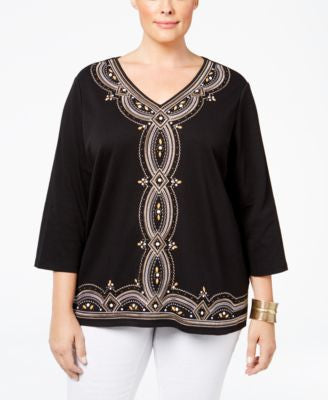 Alfred Dunner Plus Size Madison Park Collection Embroidered Top