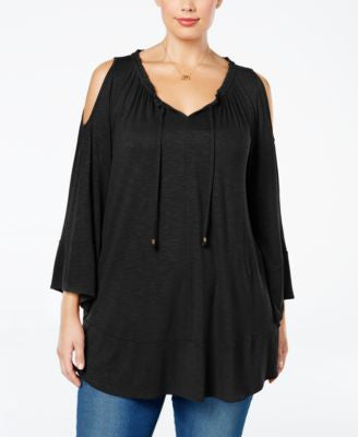 Style & Co. Plus Size Cold-Shoulder Peasant Top, Only at Vogily