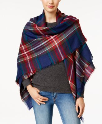 Steve Madden Classic Plaid Square Blanket Scarf