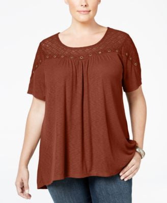 Style & Co. Plus Size Embellished Lace-Yoke Top, Only at Vogily