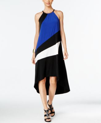 INC International Concepts Petite Colorblocked High-Low Halter Dress, Only at Vogily