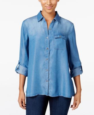 Style & Co. Petite Denim Button-Back Shirt, Only at Vogily