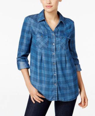 Style & Co. Petite Denim Plaid Shirt, Only at Vogily