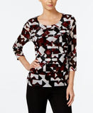 Alfani Petite Printed Tiered Mesh Top, Only at Vogily