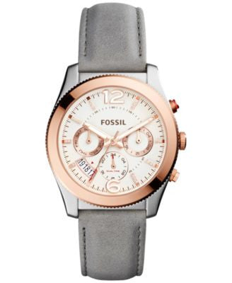 Fossil Women's Perfect Boyfriend Gray Leather Strap Watch 39mm ES4081