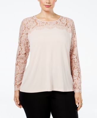 Calvin Klein Plus Size Lace-Yoke Top