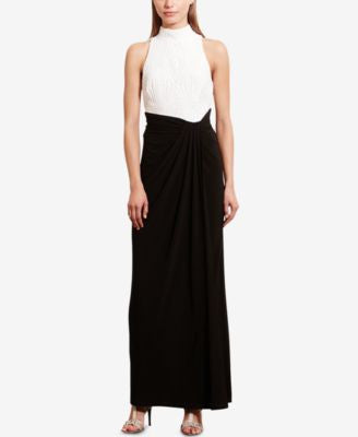 Lauren Ralph Lauren Sequined Colorblocked Jersey Gown