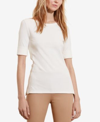 Lauren Ralph Lauren Petite Stretch Boat Neck T-Shirt