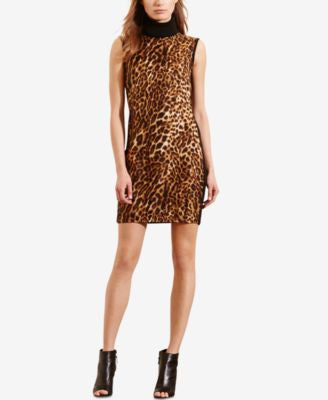 Lauren Ralph Lauren Petite Ocelot-Print-Front Turtleneck Dress