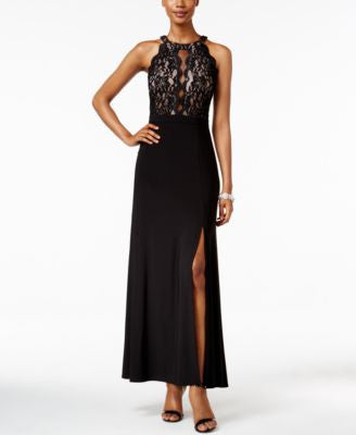 Nightway Petite Lace-Bodice Illusion Gown