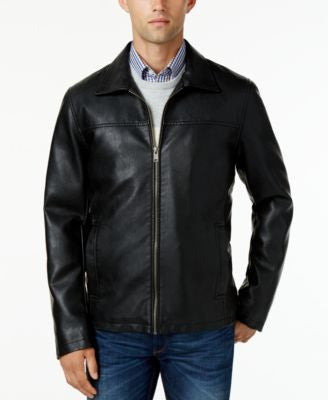 Cole Haan Faux-Leather Zip-Front Jacket