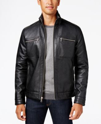Cole Haan Faux-Leather Trucker Jacket