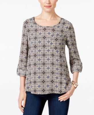 NY Collection Petite Printed High-Low Blouse