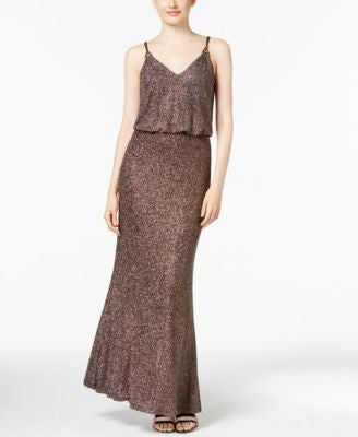 Calvin Klein Metallic Tweed Hardware Gown