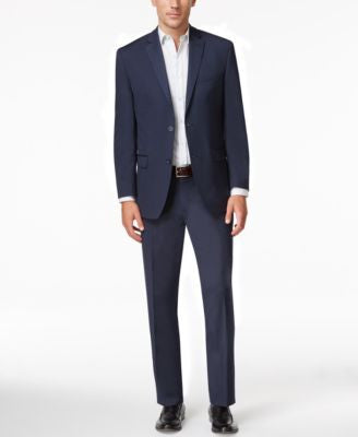 Marc New York by Andrew Marc Men's Slim-Fit Navy Mini-Stripe Suit