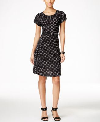 NY Collection Petite Belted Dot-Print Dress