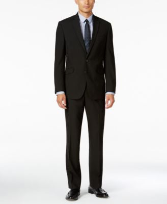 Kenneth Cole Reaction Men's Slim-Fit Black Stripe Suit