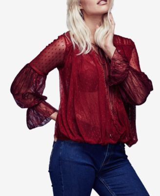 Free People Far Away Sheer Lace Top