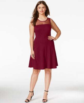 Love Squared Plus Size Illusion Fit & Flare Dress
