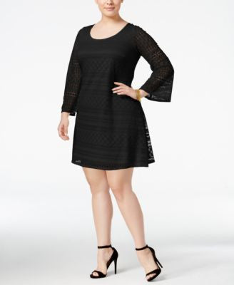 Love Squared Plus Size Bell-Sleeve Lace Peasant Dress
