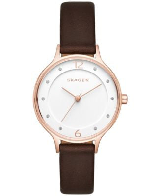 Skagen Women's Anita Dark Brown Leather Strap Watch 30mm SKW2472