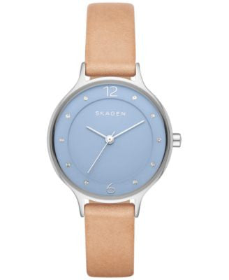 Skagen Women's Anita Light Brown Leather Strap Watch 30mm SKW2471