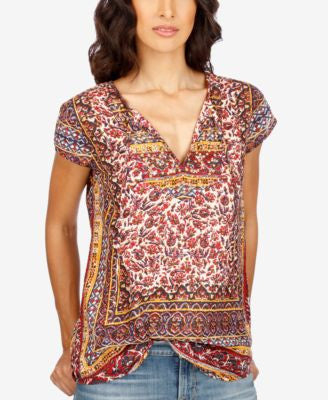 Lucky Brand Printed V-Neck Top