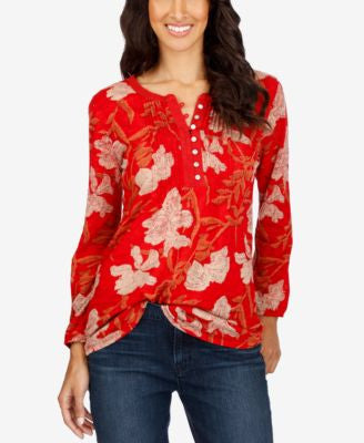 Lucky Brand Floral-Print Henley Top