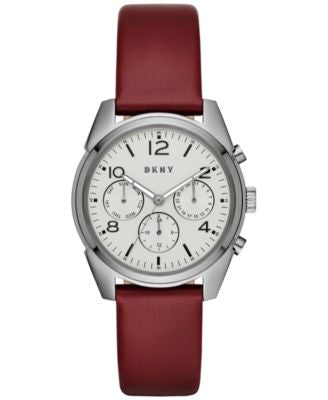 DKNY Unisex Crosby Burgundy Leather Strap Watch 36mm NY2533