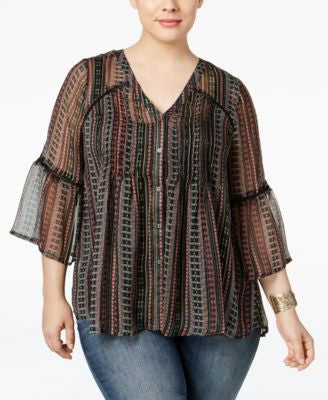 Jessica Simpson Trendy Plus Size Skip Striped Blouse