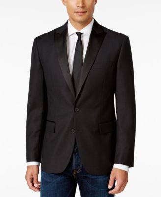 Ryan Seacrest Distinction Men's Slim-Fit Black Textured Geo Evening Jacket, Only at Vogily