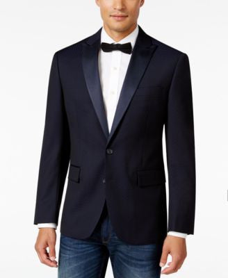 Ryan Seacrest Distinction Men's Slim-Fit Blue Geo Evening Jacket, Only at Vogily