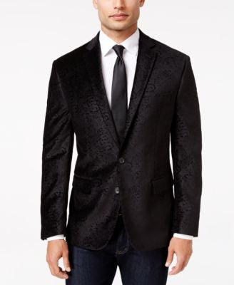 Ryan Seacrest Distinction Men's Slim-Fit Black Paisley Evening Jacket, Only at Vogily