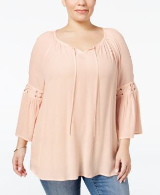 Style & Co. Plus Size Bell-Sleeve Peasant Top, Only at Vogily