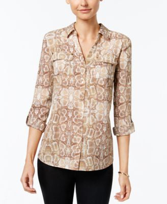 Charter Club Python-Print Utility Shirt, Only at Vogily