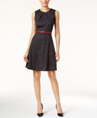 NY Collection Petite Belted Printed Fit & Flare Dress