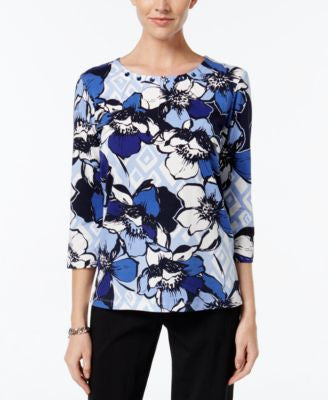 Alfred Dunner Floral-Print Beaded-Neck Top