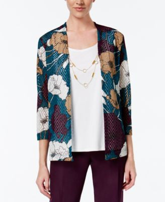Alfred Dunner Floral-Print Layered-Look Top