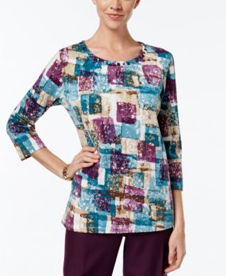 Alfred Dunner Block-Print Beaded-Neck Top