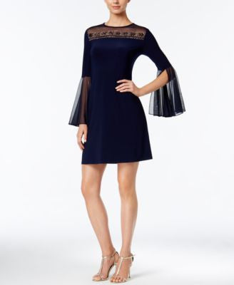 MSK Embellished Illusion Bell-Sleeve Dress
