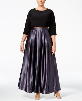 Betsy & Adam Plus Size Illusion Popover Ball Gown