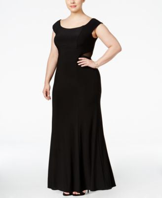 Xscape Plus Size Off-The-Shoulder Illusion Gown