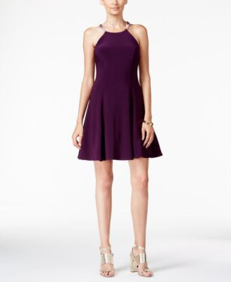 Betsy & Adam Embellished Halter Fit & Flare Dress