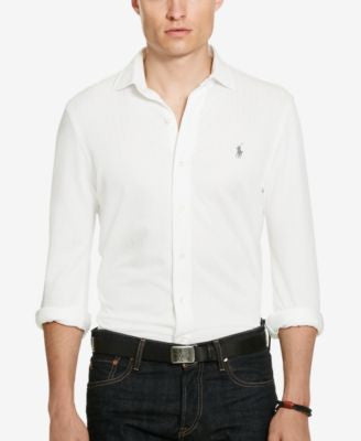 Polo Ralph Lauren Men's Herringbone Knit Dress Shirt